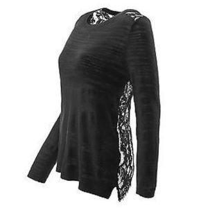 CAbi Black Sophia Sweater Lace Size XL